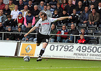 ATTENTION SPORTS PICTURE DESK<br /> Pictured: Craig Beattie of Swansea takes a shot outside Blackpool's box<br /> Re: Coca Cola Championship, Swansea City Football Club v Blackpool at the Liberty Stadium, Swansea, south Wales. Saturday 24 October 2009