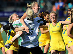 The Hague, Netherlands, June 12: Emily Smith #26 of Australia jumps in the arms of Rachael Lynch #27 of Australia after winning the field hockey semi-final match (Women) between USA and Australia on June 12, 2014 during the World Cup 2014 at Kyocera Stadium in The Hague, Netherlands. Final score after full time 2-2 (0-1). Score after shoot-out 1-3. (Photo by Dirk Markgraf / www.265-images.com) *** Local caption *** Casey Eastham #4 of Australia, Rachael Lynch #27 of Australia, Emily Smith #26 of Australia