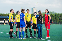 Boston, MA - Friday May 19, 2017: Julie King and Christine Sinclair during the coin toss before a regular season National Women's Soccer League (NWSL) match between the Boston Breakers and the Portland Thorns FC at Jordan Field.