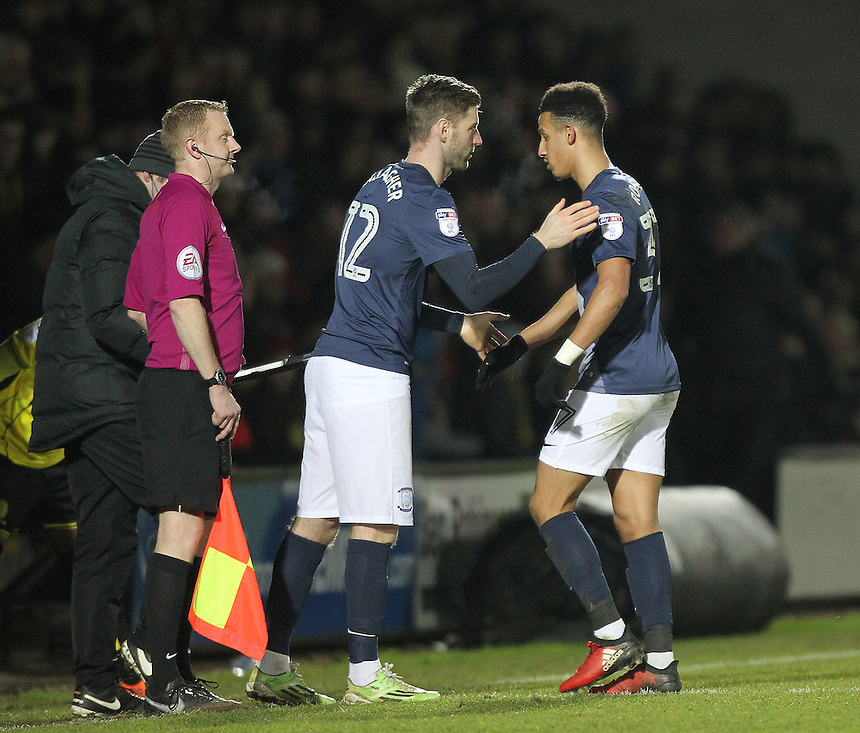 Preston North End's Paul Gallagher replaces Callum Robinson<br /> <br /> Photographer Mick Walker/CameraSport<br /> <br /> The EFL Sky Bet Championship - Burton Albion v Preston North End - Monday 2nd January 2017 - Pirelli Stadium - Burton upon Trent<br /> <br /> World Copyright &copy; 2017 CameraSport. All rights reserved. 43 Linden Ave. Countesthorpe. Leicester. England. LE8 5PG - Tel: +44 (0) 116 277 4147 - admin@camerasport.com - www.camerasport.com