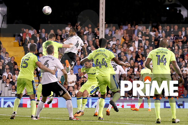 GOAL - Denis Odoi of Fulham glances the header home during the Sky Bet Championship play off semi final 2nd leg match between Fulham and Derby County at Craven Cottage, London, England on 15 May 2018. Photo by Carlton Myrie / PRiME Media Images.