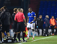Oldham Athletic's Ishmael Miller leaves the pitch after being sent off<br /> <br /> Photographer Andrew Vaughan/CameraSport<br /> <br /> The EFL Sky Bet League Two - Oldham Athletic v Lincoln City - Tuesday 27th November 2018 - Boundary Park - Oldham<br /> <br /> World Copyright © 2018 CameraSport. All rights reserved. 43 Linden Ave. Countesthorpe. Leicester. England. LE8 5PG - Tel: +44 (0) 116 277 4147 - admin@camerasport.com - www.camerasport.com