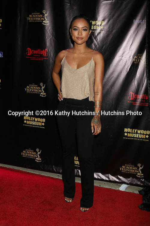 LOS ANGELES - APR 27:  Karrueche Tran at the 2016 Daytime EMMY Awards Nominees Reception at the Hollywood Museum on April 27, 2016 in Los Angeles, CA
