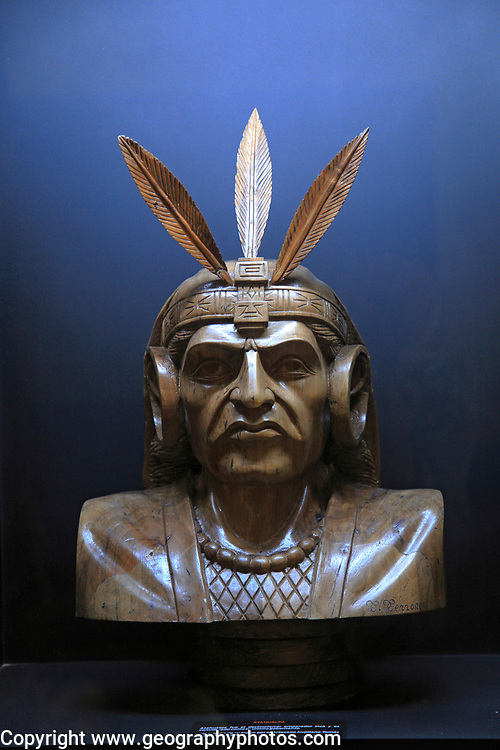 Bust Inca Emperor Atahualpa in exhibition about exploration and conquest of South America,  Trujillo, Spain