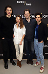 Adam Driver, Keri Russell, David Furr and Brandon Uranowitz attend the 'Burn This' cast photo call at the New 42nd Street Studios on March 7, 2019 in New York City.