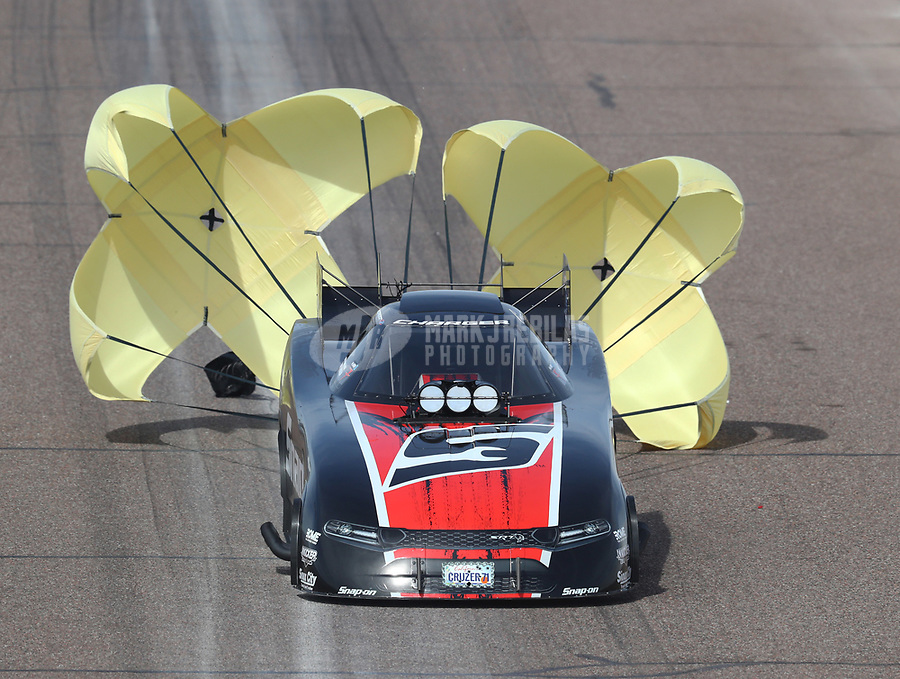 Feb 24, 2019; Chandler, AZ, USA; NHRA funny car driver Cruz Pedregon during the Arizona Nationals at Wild Horse Pass Motorsports Park. Mandatory Credit: Mark J. Rebilas-USA TODAY Sports