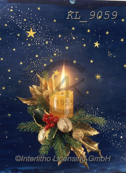 Interlitho-Helga, CHRISTMAS SYMBOLS, WEIHNACHTEN SYMBOLE, NAVIDAD SÍMBOLOS, photos+++++,candle on blue,KL9059,#xx#