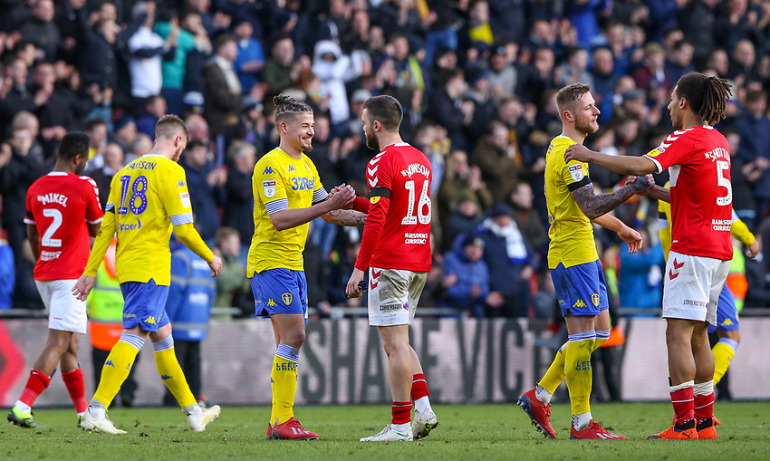 Leeds United's Kalvin Phillips is congratulated after the match by Middlesbrough's Jonny Howson<br /> <br /> Photographer Alex Dodd/CameraSport<br /> <br /> The EFL Sky Bet Championship - Middlesbrough v Leeds United - Saturday 9th February 2019 - Riverside Stadium - Middlesbrough<br /> <br /> World Copyright © 2019 CameraSport. All rights reserved. 43 Linden Ave. Countesthorpe. Leicester. England. LE8 5PG - Tel: +44 (0) 116 277 4147 - admin@camerasport.com - www.camerasport.com