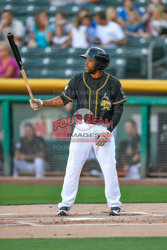 Sherman Johnson (7) of the Salt Lake Bees at bat against the Tacoma Rainiers in Pacific Coast League action at Smith's Ballpark on July 22, 2016 in Salt Lake City, Utah. The Rainiers defeated the Bees 8-3. (Stephen Smith/Four Seam Images)