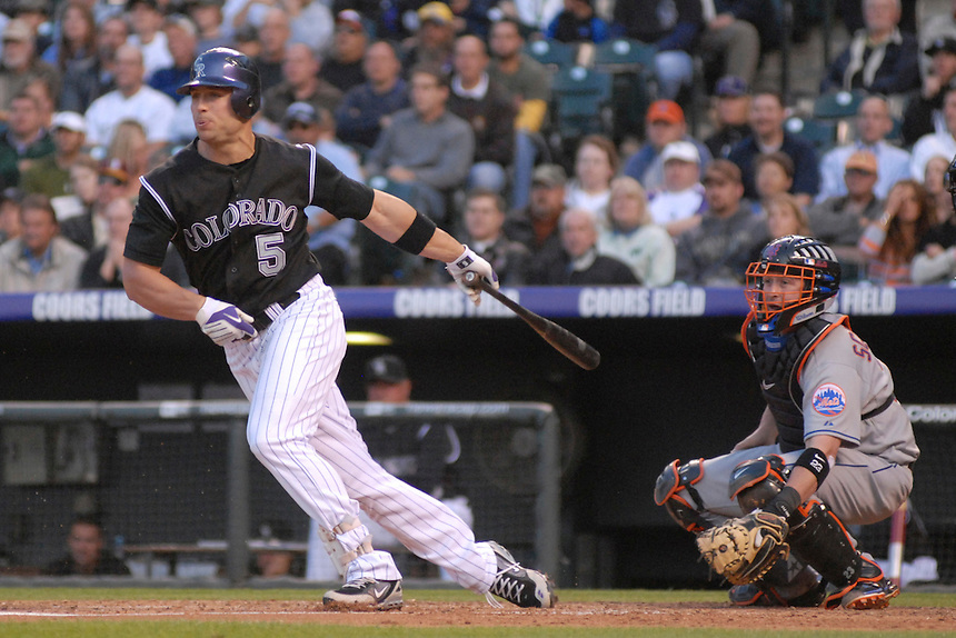 Colorado Rockies outfielder Matt Holliday at bat against the New York Mets. The Rockies defeated the Mets 6-5 in 13 innings at Coors Field in Denver, Colorado on May 23, 2008. FOR EDITORIAL USE ONLY. FOR EDITORIAL USE ONLY