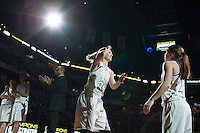 Penn guard/forward Camryn Buhr (34) is introduced before the IHSAA Class 4A Girls Basketball State Championship Game on Saturday, Feb. 27, 2016, at Bankers Life Fieldhouse in Indianapolis.