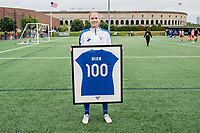 Boston, MA - Friday July 07, 2017: Julie King is presented with her 100th game jersey prior to a regular season National Women's Soccer League (NWSL) match between the Boston Breakers and the Chicago Red Stars at Jordan Field.