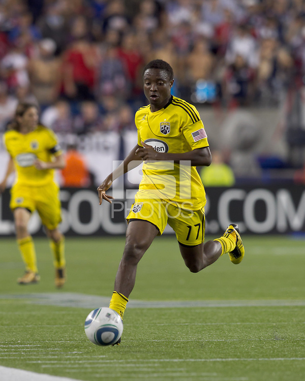 Columbus Crew midfielder Emmanuel Ekpo (17). The New England Revolution tied Columbus Crew, 2-2, at Gillette Stadium on September 25, 2010.