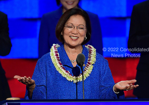United States Senator Mazie Hirono (Democrat of California) makes remarks during the third session of the 2016 Democratic National Convention at the Wells Fargo Center in Philadelphia, Pennsylvania on Wednesday, July 27, 2016.<br /> Credit: Ron Sachs / CNP<br /> (RESTRICTION: NO New York or New Jersey Newspapers or newspapers within a 75 mile radius of New York City)