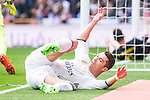Cristiano Ronaldo of Real Madrid reacts during the match of La Liga between Real Madrid and RCE Espanyol at Santiago Bernabeu  Stadium  in Madrid , Spain. February 18, 2016. (ALTERPHOTOS/Rodrigo Jimenez)