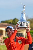 Francesco Molinari (ITA) hoists the trophy high after winning the Arnold Palmer Invitational at Bay Hill Golf Club, Bay Hill, Florida. 3/10/2019.<br /> Picture: Golffile | Ken Murray<br /> <br /> <br /> All photo usage must carry mandatory copyright credit (© Golffile | Ken Murray)