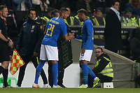 Neymar Jr of Brazil and Paris Saint Germain leaves the pitch injured and is replaced by Richarlison of Brazil and Everton during Brazil vs Cameroon, International Friendly Match Football at stadium:mk on 20th November 2018
