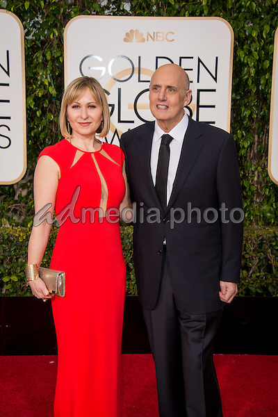 "Nominated for BEST PERFORMANCE BY AN ACTOR IN A TELEVISION SERIES – COMEDY OR MUSICAL for his role in ""Transparent,"" actor Jeffrey Tambor with wife Kasia Ostlun attends the 73rd Annual Golden Globes Awards at the Beverly Hilton in Beverly Hills, CA on Sunday, January 10, 2016. Photo Credit: HFPA/AdMedia"