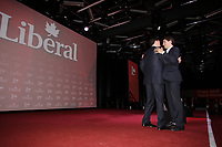 April 22 , 2014 -  Justin Trudeau,Leade,  Liberal Party of Canada (R) , congratulate Bill Morneau,<br /> head of Morneau Shepel and chairman of the board at the C.D. Howe Institute (L), <br /> after his keynote speech<br /> at the Liberal Biennial Convention in Montreal.<br /> <br /> <br /> <br /> <br /> Justin Trudeau, chef du Parti liberal du Canada remercie Bill Morneau,suite a son discour lors du  Congres biennal liberal a Montreal,  samedi le 22  fevrier 2014.<br /> <br /> Photo : (c) Pierre Roussel - Images Distribution