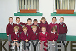 YARD: Playing in their School Yard were pupils from Asdee NS on ThursdAY. Front l-r: Alice McMahon, Gearo?id O Sullivan, Conor Mullane, aaron Enright and Niamh Histon. Back l-r: Alanna Colins, Shauna Sweeney, gavin Mulivhill, Rory Mahony, Michael Walsh, Becky O'Connor and Robbie Woulfe.... ....