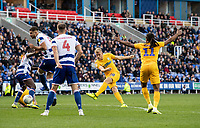 Preston North End's Jayden Stockley (centre right) strikes the ball target but in saved by the Reading keeper Rafael<br /> <br /> Photographer David Horton/CameraSport<br /> <br /> The EFL Sky Bet Championship - Reading v Preston North End - Saturday 19th October 2019 - Madejski Stadium - Reading<br /> <br /> World Copyright © 2019 CameraSport. All rights reserved. 43 Linden Ave. Countesthorpe. Leicester. England. LE8 5PG - Tel: +44 (0) 116 277 4147 - admin@camerasport.com - www.camerasport.com