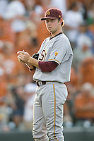 Arizona State Sun Devil starting pitcher Brady Rodgers #20 rubs up a new baseball against the Texas Longhorns in NCAA Tournament Super Regional baseball on June 10, 2011 at Disch Falk Field in Austin, Texas. (Photo by Andrew Woolley / Four Seam Images)