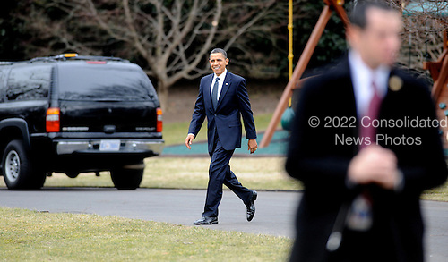 United States President Barack Obama departs the White House en route to Savannah, Georgia, Tuesday,  March 2, 2010 in Washington DC..Credit: Olivier Douliery / Pool via CNP