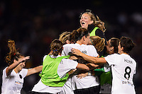 Portland Thorns players celebrate after the match. The Portland Thorns defeated the Western New York Flash 2-0 during the National Women's Soccer League (NWSL) finals at Sahlen's Stadium in Rochester, NY, on August 31, 2013.