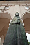 Statue of a bishop outside of the Salzburg Residenz Palace - State Rooms, medieval bishops residence