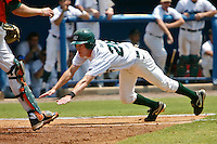 June 05, 2011:  Jacksonville Dolphins infielder Taylor Ratliff (26) dives head first into home plate to score a run during NCAA Gainesville Regional action between Jacksonville Dolphins and Miami Hurricanes played at Alfred A. McKethan Stadium on the campus of Florida University in Gainesville, Florida.    Miami defeated Jacksonville 6-3. ........