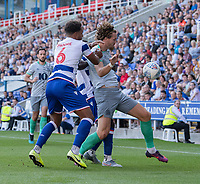 Reading's Liam Moore (left) battles with Blackburn Rovers' Sam Gallagher (right) <br /> <br /> Photographer David Horton/CameraSport<br /> <br /> The EFL Sky Bet Championship - Reading v Blackburn Rovers - Saturday 21st September 2019 - Madejski Stadium - Reading<br /> <br /> World Copyright © 2019 CameraSport. All rights reserved. 43 Linden Ave. Countesthorpe. Leicester. England. LE8 5PG - Tel: +44 (0) 116 277 4147 - admin@camerasport.com - www.camerasport.com