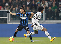 Calcio, semifinali di andata di Coppa Italia: Juventus vs Inter. Torino, Juventus Stadium, 27 gennaio 2016.<br /> FC Inter's Adem Ljajic, left, is chased by Juventus&rsquo; Juan Cuadrado during the Italian Cup semifinal first leg football match between Juventus and FC Inter at Juventus stadium, 27 January 2016.<br /> UPDATE IMAGES PRESS/Isabella Bonotto