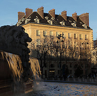 Fontaine Saint-Sulpice (St Sulpitius' Fountain), (left), 1844-48, by Joachim Visconti, and buildings of Place Saint-Sulpice, 19th century, in the background, Paris, France. Picture by Manuel Cohen