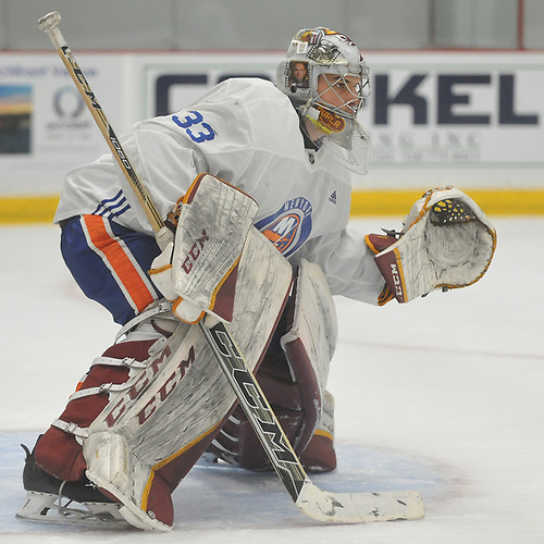 Jakub Skarek #33 defends the net during the final scrimmage of New York Islanders Mini Camp at Northwell Health Ice Center in East Meadow on Saturday, June 30, 2018.