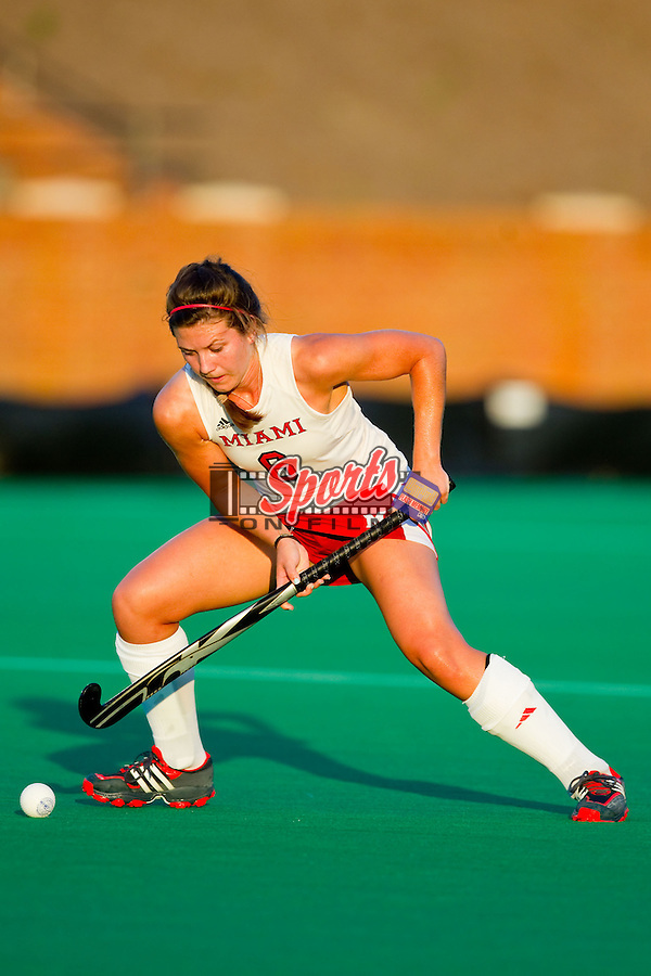 Alyssa Logan (6) of the Miami RedHawks controls the ball during first half action against the Wake Forest Demon Deacons at Kentner Stadium on August 30, 2013 in Winston-Salem, North Carolina.  The Demon Deacons defeated the RedHawks 3-2.  (Brian Westerholt/Sports On Film)