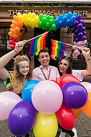 Celebrating Derby Pride Festival at The Thomas Leaper from left are Bar Associate Chloe Smith, Manager Ashley Warner and Duty Manager Emma Carey