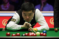 12th January 2020, Alexandra palace, London, United Kingdom; Ding Junhui of China plays a shot during the round 1 match between Ding Junhui of China and Joe Perry of England at Snooker Masters 2020 at the Alexandra Palace in London, Britain, Jan
