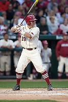 Arkansas Razorbacks catcher Jake Wise (19) batting at Baum Stadium during the NCAA baseball game against the Alabama Crimson Tide on March 21, 2014 in Fayetteville, Arkansas.  The Alabama Crimson Tide defeated the Arkansas Razorbacks 17-9.  (William Purnell/Four Seam Images)
