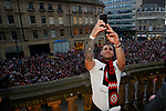 Billy Sharp of Sheffield Utd takes a selfie with the fans during the open top bus parade from Bramall Lane Stadium to Sheffield Town Hall, Sheffield. Picture date: May 2nd 2017. Pic credit should read: Simon Bellis/Sportimage