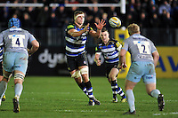 Tom Ellis of Bath Rugby receives the ball. Aviva Premiership match, between Bath Rugby and Northampton Saints on December 5, 2015 at the Recreation Ground in Bath, England. Photo by: Patrick Khachfe / Onside Images