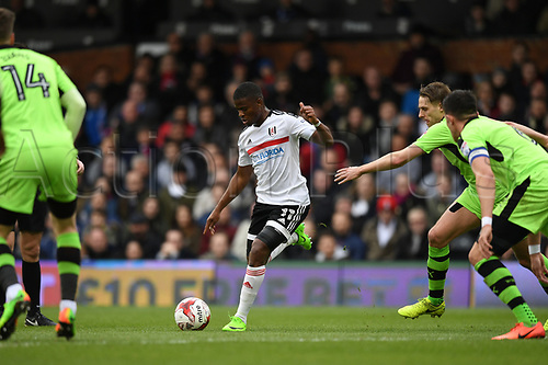 March 18h 2017, Craven Cottage, London, England; Skybet Championship football, Fulham versus Wolverhampton Wanderers; Ragnar Sigurosson Defender for Fulham FC shoots