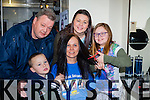 Tracy O'Connor, Bansha, Killorglin, who cut off her pony tail for the Shave or Dye campaign in Pat Taffe hairdressers, Killorglin on Friday with her husband Chris and children Cadan, Bridie and Millie
