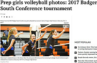 Watertown's Isabelle Schaurer (10), Allison Stair (4), and Lauren Bird set up at the net during the Badger South Conference girls volleyball tournament on Saturday, 10/7/17, at Oregon High School | Wisconsin State Journal article front page Sports 10/8/17 with online gallery at http://host.madison.com/wsj/sports/high-school/volleyball/prep-girls-volleyball-photos-badger-south-conference-tournament/collection_e4be0a3c-743c-5ddf-ba1a-132c2896b421.html