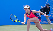 June 15th 2017, Nottingham, England; WTA Aegon Nottingham Open Tennis Tournament day 6;  Johanna Konta of Great Britain gets down low to return a forehand  during her win over Yanina Wickmayer of Belgium on centre court