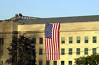 11 September 2017 - America remembers the fateful day of 9/11/2001 on the commemoration on the 16th anniversary of the terrorist attacks that killed nearly 3,000 people when hijackers flew commercial airplanes into New York's World Trade Center, the Pentagon and a field near Shanksville, Pennsylvania File Photo: Sep 12, 2001; Washington, DC, USA; The Pentagon aftermath where it is expected that at least 800 people died after an attack on America by terrorists. <br /> CAP/ADM/LF<br /> &copy;LF/ADM/Capital Pictures