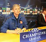 Camp Nou , UEFA Champions League, rueda de prensa previa al partido FC Barcelona - ARsenal FC. En la foto Arsene Wenger