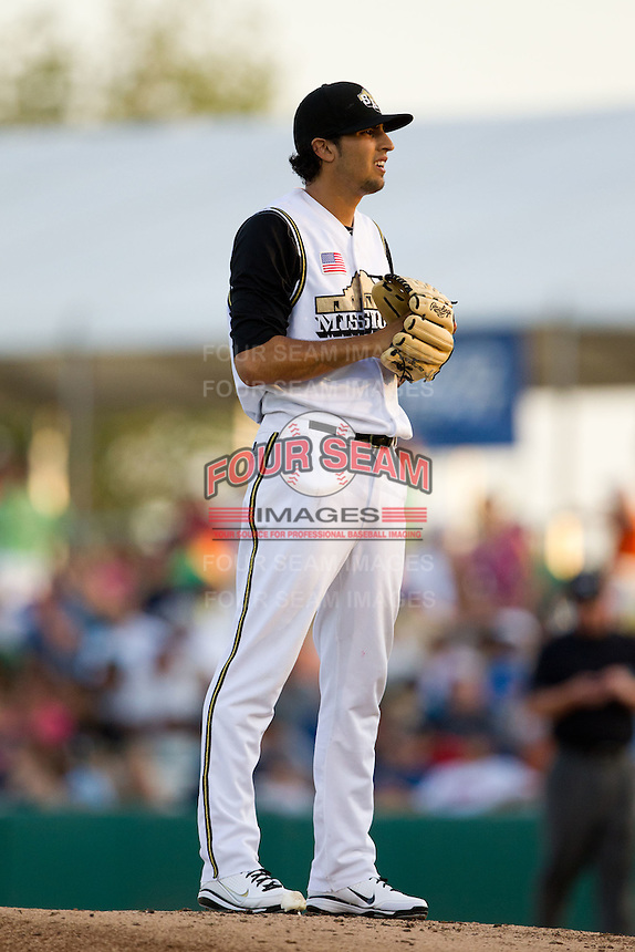 Jorge Reyes (7) of the San Antonio Missions on the mound during a game against the North All-Stars 2011 in the Texas League All-Star game at Nelson Wolff Stadium on June 29, 2011 in San Antonio, Texas. (David Welker / Four Seam Images)..