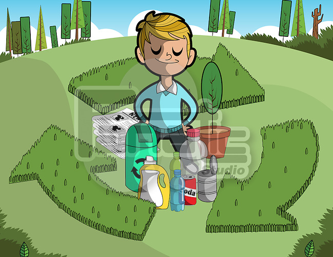 Illustration of boy with objects standing amidst recycle sign
