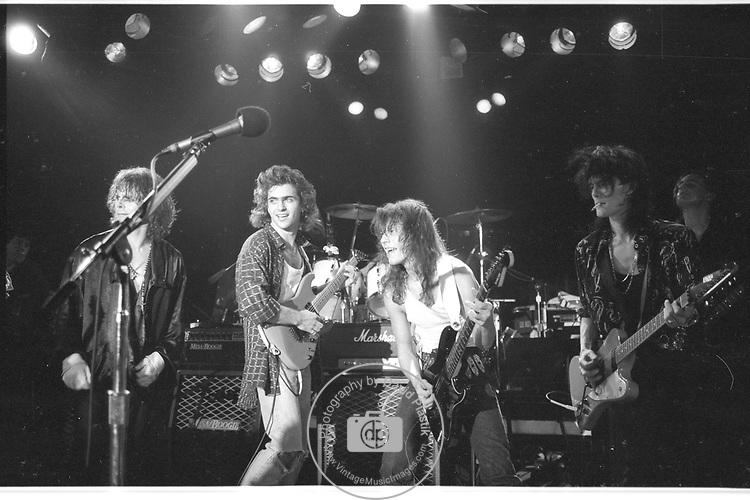 Dweezil Zappa,Michael Desbarres,  Andy Taylor, Charlie Sexton , Patrick Ohearn, Tommy Lee.  Roxy  1986