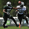 Khiry Robinson #31 of the New York Jets, right, and Bryson Keeton #37 battle to recover a fumble during training camp at Atlantic Health Jets Training Center in Florham Park, NJ on Wednesday, Aug. 17, 2016.